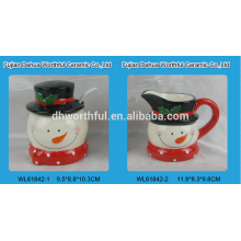 Azúcar de cerámica y azúcar crema conjunto con cuchara para la Navidad