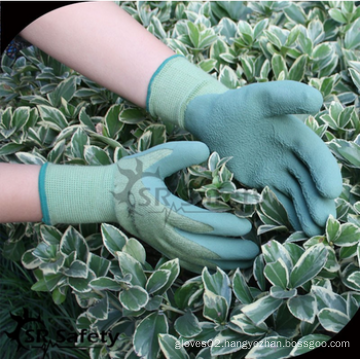 SRSAFETY cheap price/13G knitted nylon foam latex coated soft hand gloves/safety gloves
