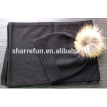 7GG schlicht gestrickt Kaschmir-Schal und Hut-Set