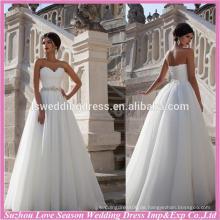 WD9069 neue berühmt mit großem Preis ohne Zug Organza A-line trägerlosen Taiwan Hochzeitskleid Herstellung