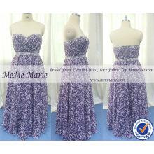 Robe à récréomanes Robe de soirée à fleurs violet avec motif en mousseline de soie Robes de soirée BYE-14060