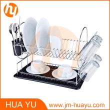 Bandeja de plato de 2 niveles de acero cromado con tablero de desagüe y cubertería (negro)
