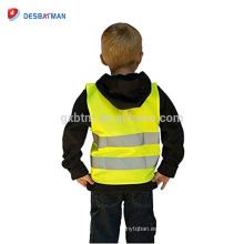 Chaleco de seguridad de topógrafo de seguridad de alta visibilidad 100% poliéster Chaleco de tráfico reflexivo de tráfico de niños con cierre de gancho y lazo