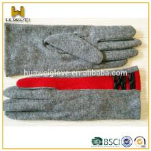 Personalizado dedo fino inteligente toque senhoras lã luvas mão