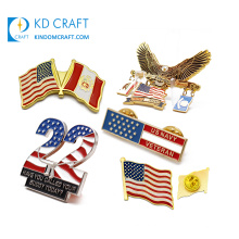 Free sample custom made metal soft hard enamel gold silver plated american usa flag lapel pin with different size