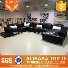 australia style modern luxury black with white leather furniture living room sofa