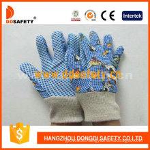 Garden Gloves. Blue Cotton. Printing Pattern Back (DGK418)