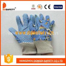 Blue Cotton Garden Gloves with Printing Pattern Back Dgk418
