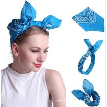 Custom logo multifunctional bandana , sport headband cotton square Hip-hop scarf