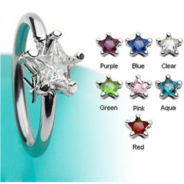 Star CZ Gem CBR Nose Labret Ring