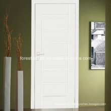 White Single Wood Flush Door with Carving Design