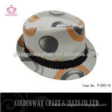 colorful cotton high printing fedora hat for party new design floding hats