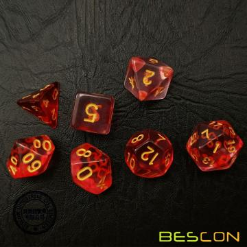 Bescon Crystal Blush 7-pc Poly Dice Set, Bescon Polyhedral RPG Dice Set Crystal Blush