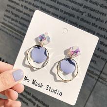 Geometrischer runder baumelnder Ohrring Mode Boho Bonbonfarbene Tropfenohrringe Einfacher Kreis Statement Ohrringe Glänzendes Schmuckgeschenk