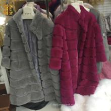 Fancy Long Style Warm Women's Rabbit Fur Coat Overcoat Jacket