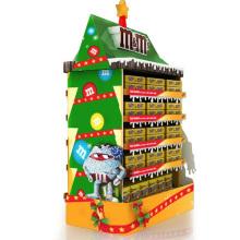 Exhibición de la paleta de la cartulina del supermercado de la posición para los artículos de Navidad del chocolate