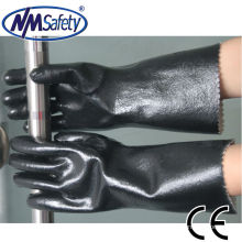NMSAFETY industrial chemical resistant jersey liner full coated black neoprene glove