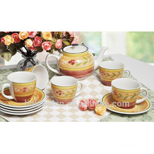 Haonai High qulaity colorful Ceramic teapot Coffee cup Sets