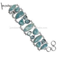 Larimar And Sky Blue Topaz Gemstone 925 Sterling Silver Bracelet