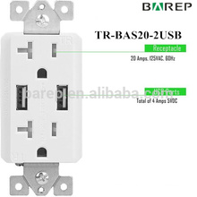 2017 new design high amperage surge protected usb socket