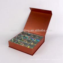 Kundenspezifisches hochwertiges Luxuspapier in quadratischer Verpackung für Schokolade
