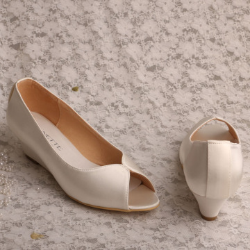 Wedges marfil boda Peep Toe