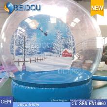 Durable Giant Christmas Photo Human Snow Globe Inflatable Snow Dome