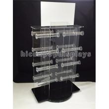 Joyería Shop Counter Top Advertising Equipment Venta al por mayor de lujo de giro de joyería de acrílico conjuntos de pantalla