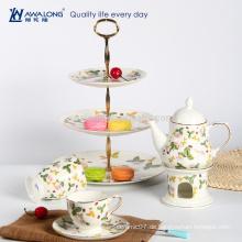 Englisch-Stil Tee-Sets Knochen China Nachmittag Teetasse und Topf