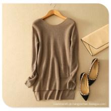 A camisola de confecção de malhas 100% da caxemira cobre a camisola do pulôver das mulheres