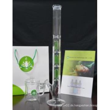 Europäische Großhandel Glas Rohr, 3 * 4 Arm Baum Perc Glas Rauchen Rohr