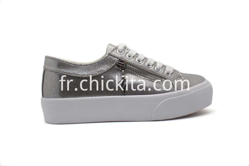 Women Zipper Sneakers Shoes On White Sole Shoes
