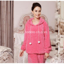 Ladies Jacquard Flannel Pajama Suit With Hood And Pompom