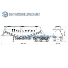 V Shape 3-Axle Dry Bulk Tank Trailer/ 35 Cbm Bulk Silo Semitrailers for Sale