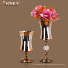 factory directly supply high grade luxury glass and metal flower vase