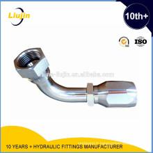 Raccord hydraulique monobloc réutilisable à 90 degrés pour coude femelle Jic femelle de 74 degrés (26798D-R5)