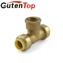 GutenTop High Quality and Hot Sale lead free brass push fit pump fitting Female and quick Equal Tee for pipe
