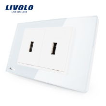 Manufacturer Livolo US Standard Socket Crystal Glass USB Electrical socket Wall Mounted Outlet 110-220V VL-C392USB-81