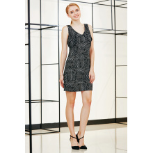 Sleeveless Shift Dress with Double Layers Around Front Armhole