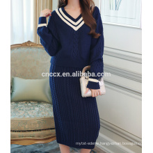 PK17ST452 Women Slim Cable Knit Cashmere Sweater and Bodycon Mini Skirt 2 Piece Set