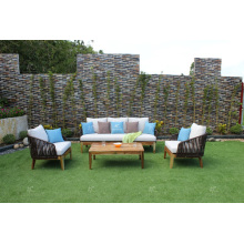COLECCIÓN FLORES - El más nuevo diseño Sofá del sofá del Rattan del Poly con las piernas de madera de la acacia para los muebles de jardín al aire libre