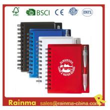 Caderno de capa de PVC com caneta esferográfica