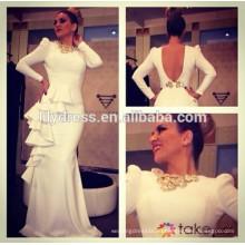 Белый с длинными рукавами и голой спиной Длина пола обычай делать дизайн длинные ну вечеринку платье RD037 арабский знаменитости платье