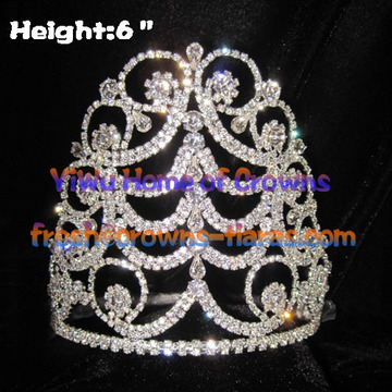 6-Zoll-Clear Crystal Pageant Kronen