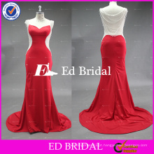 ST1004 Fashion Passion Red Crystal Beaded Covered Back Coluna Alibaba Vestidos de noite Africano