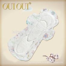 Almohadillas sanitarias femeninas del algodón femenino absorbente del fabricante de China con las alas
