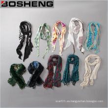 Venta al por mayor de moda personalizada elegante cómodos diferentes tipos de mujeres bufanda larga