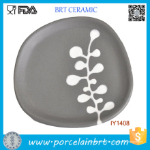 Необычные Художественные Бесформенный Серый Керамическая Декоративная Тарелка