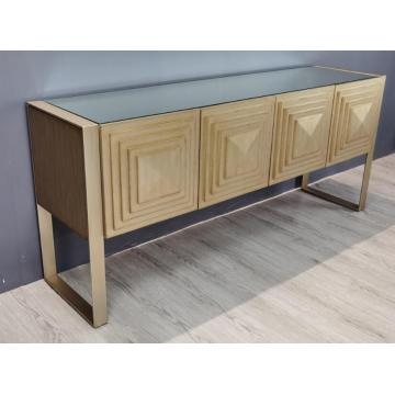 Buffet long couleur or avec portes
