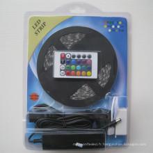 12V 5M 300leds couleur changeant 60led / m flexible led rbb bande 5050 ensemble complet avec télécommande / adaptateur d'alimentation